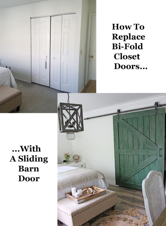 Replace outdated closet doors with a DIY sliding barn door!