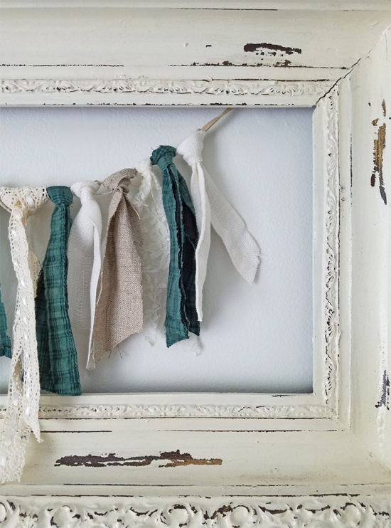 Textured Rag Garland with fabric and ribbon diy how to