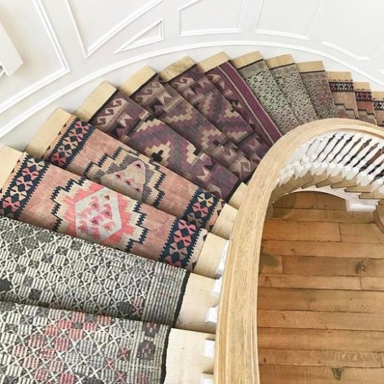 The Southern Loom Turkish Rugs on stairs