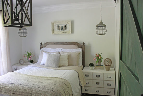 neutral bedroom makeover with pops of green