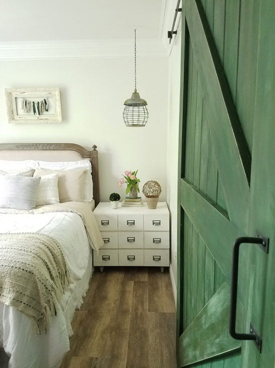 bedroom makeover card catalog nightstands DIY barndoor