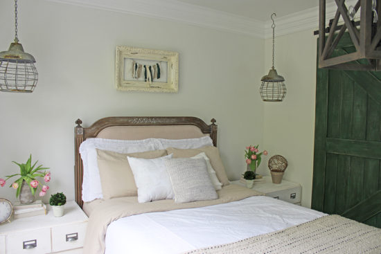 Bedroom Makeover - Neutral bedroom with tons of storage in a small space