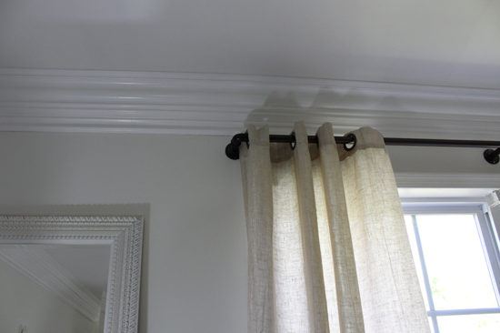 one room challenge bedroom makeover industrial pipe curtain rod