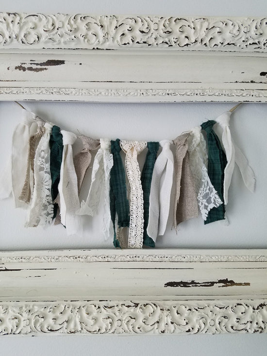 Bedroom Makeover DIY rag garland wall hanging