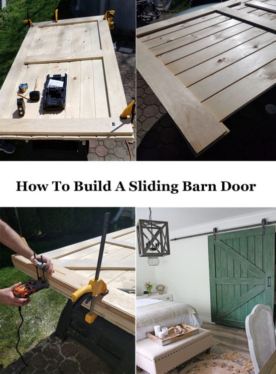 how to build a sliding barn door for less, how to to hang it, what hardware to use and what to use on the bottom of the door.