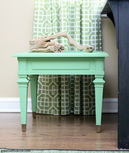how-to-paint-table-with-lot-of-trim-green-side-table-makeover-clay-paint-gold-trim-hardwood-floors-driftwood-accent-piece