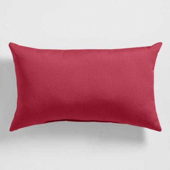 red lumbar outdoor pillow
