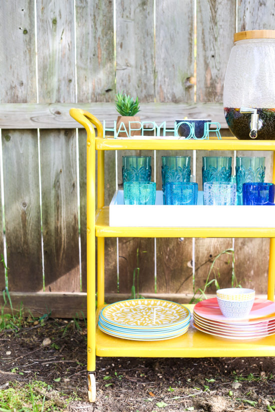bright yellow bar cart flip