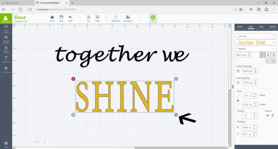 sizing fonts in cricut design space 2
