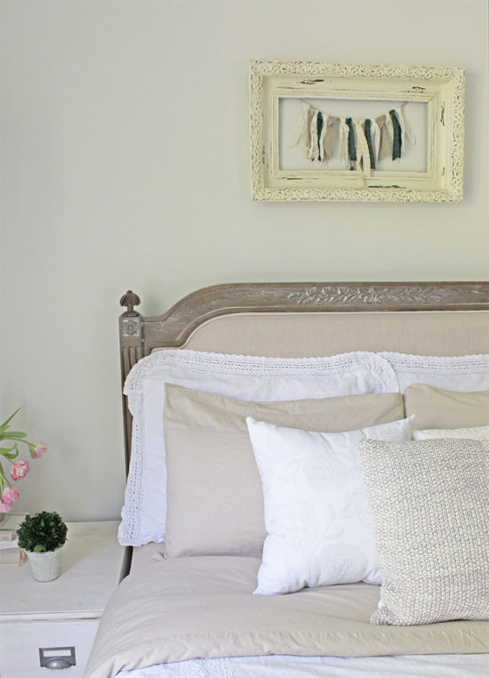 textured bedroom makeover diy rag banner garland