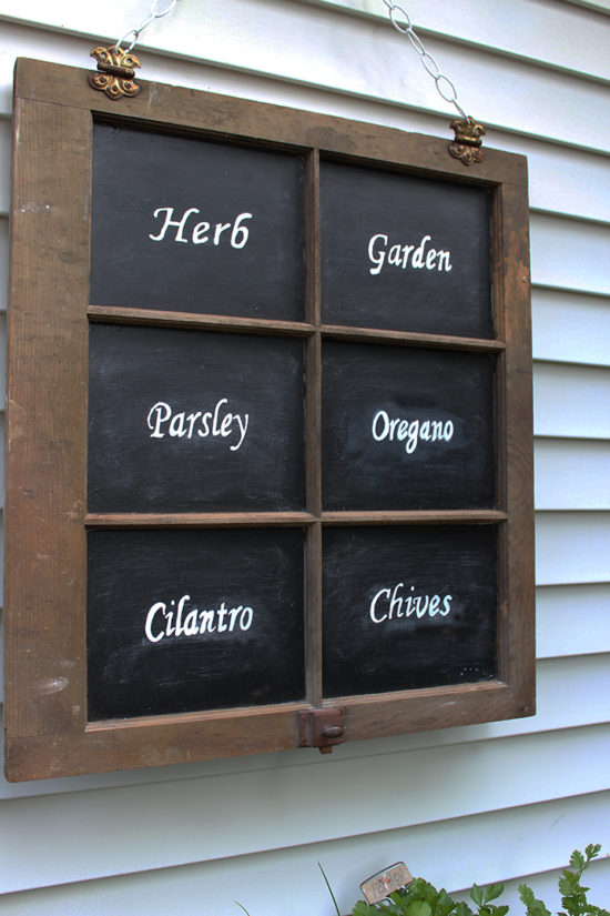 DIY Herb Garden Sign from an old window