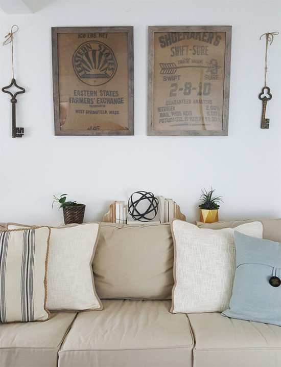 How high to hang art work, framed burlap