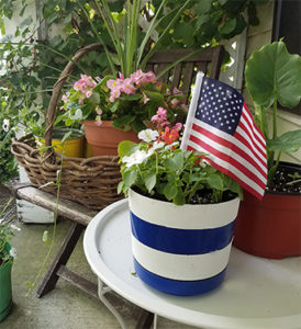 Dollar store DIY striped flowerpot FI
