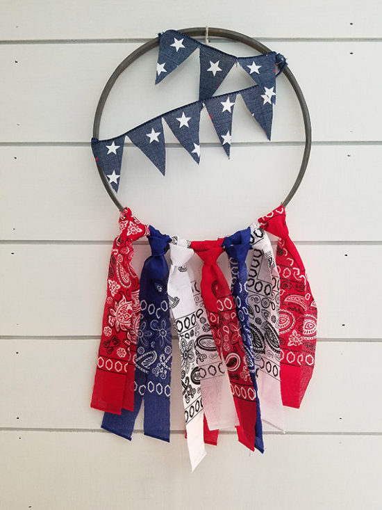 Red white and blue rag garland patriotic wreath