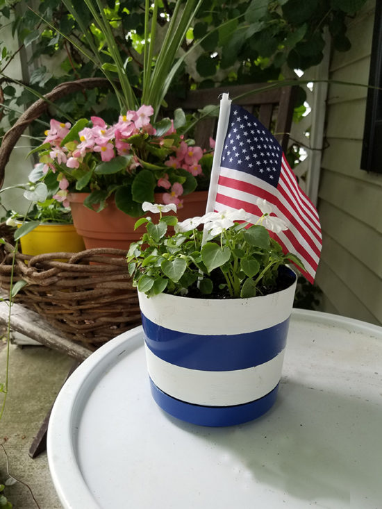 red and white striped flower pot
