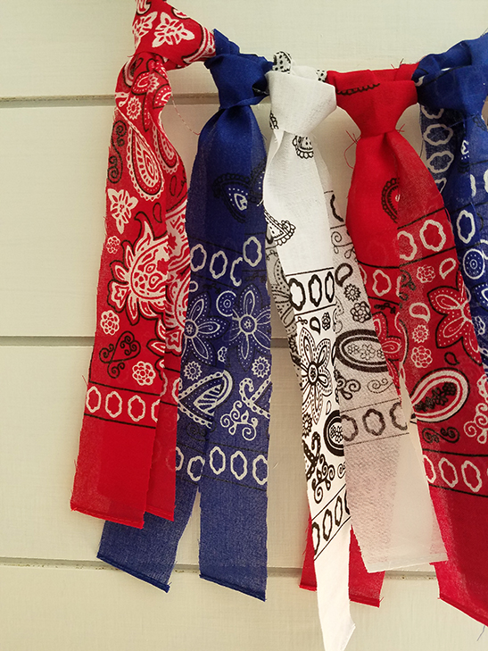 red, white and blue door decor
