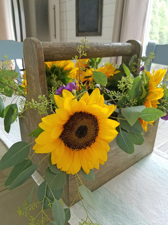 DIY Floral Centerpiece with Sunflowers and Eucalpytus