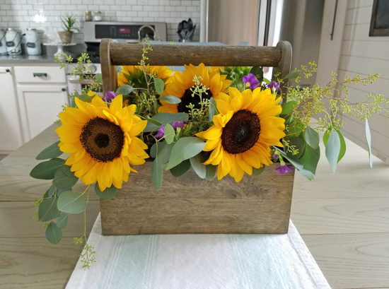 Rustic Sunflower and Eucalyptus Centerpiece