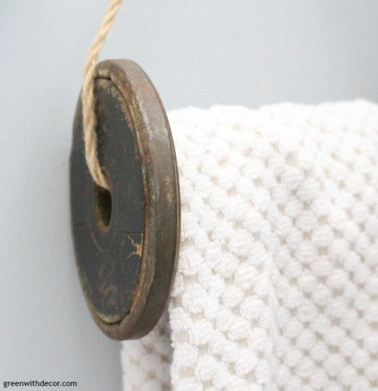 DIY Towel Rack from A Spool Green With Decor