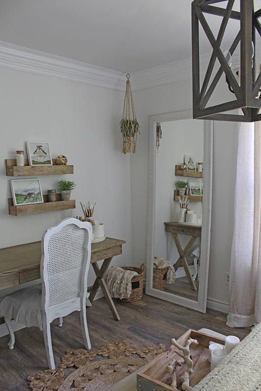 bedroom ideas - rustic desk neutral bedroom floor mirror
