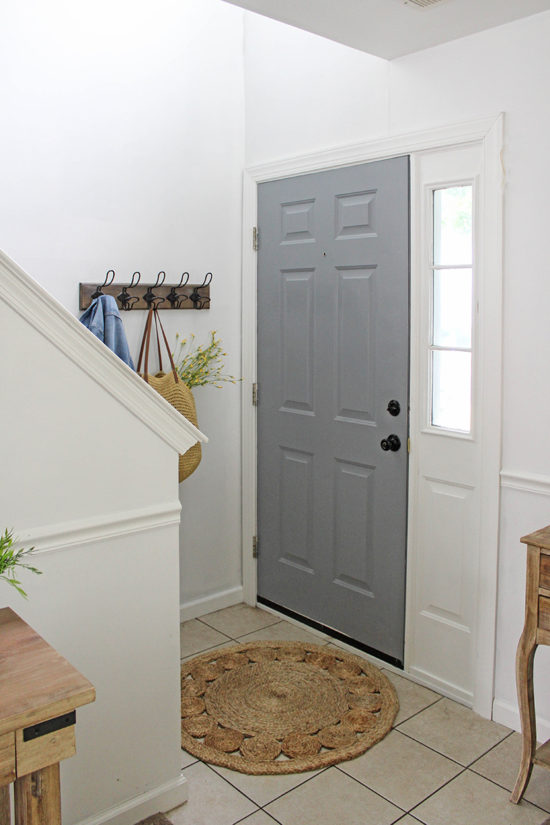 gray painted front door - cheap decorating ideas that look chic!