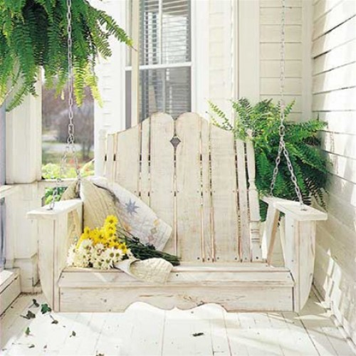 Nantucket porch swing from an adirondack chair