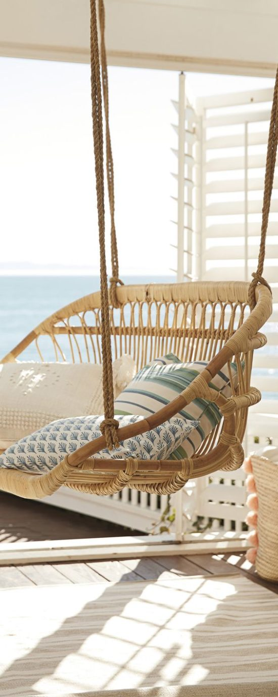 porch swing with beach view