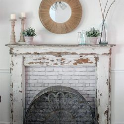 vintage mantel with custom diy fireplace surround