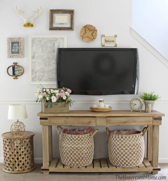 Small Space Living Room Makeover World Market and The Honeycomb Home
