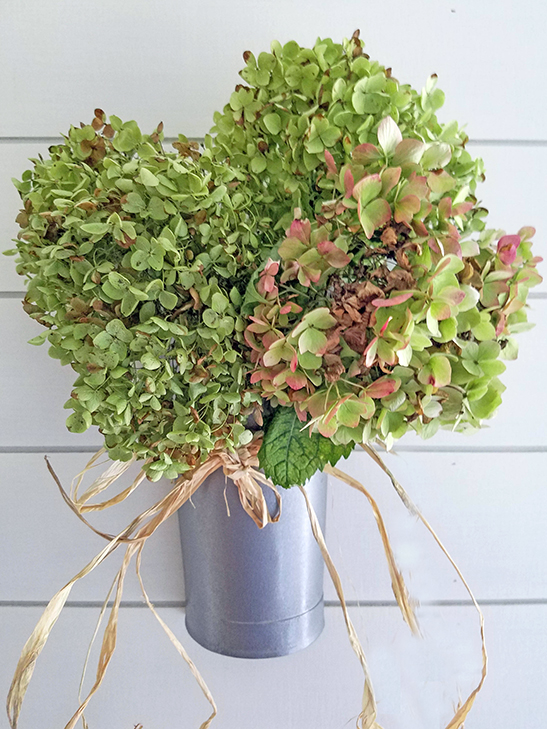 dried hydrangeas wall planter fall harvest fall decor