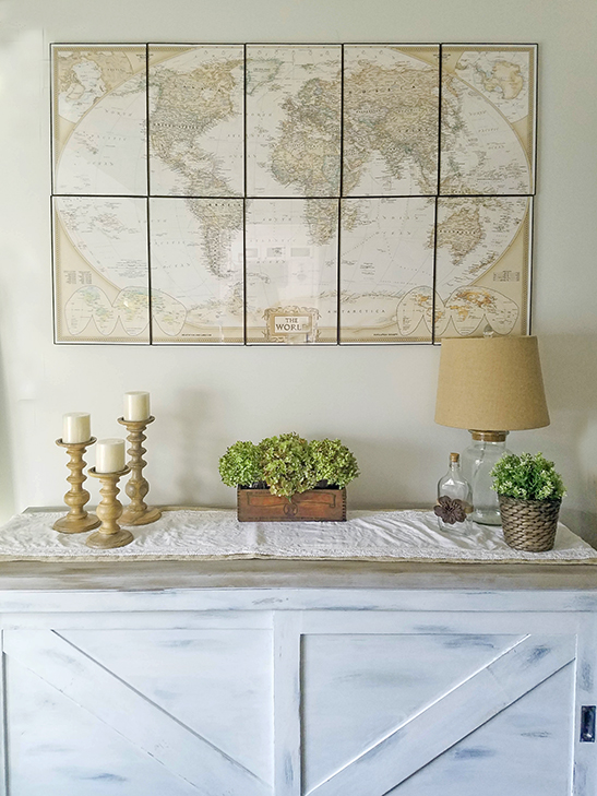 decorating for fall with dried hydrangeas family room with large map wall decor