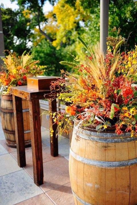 fall_garden in a whiskey barrel