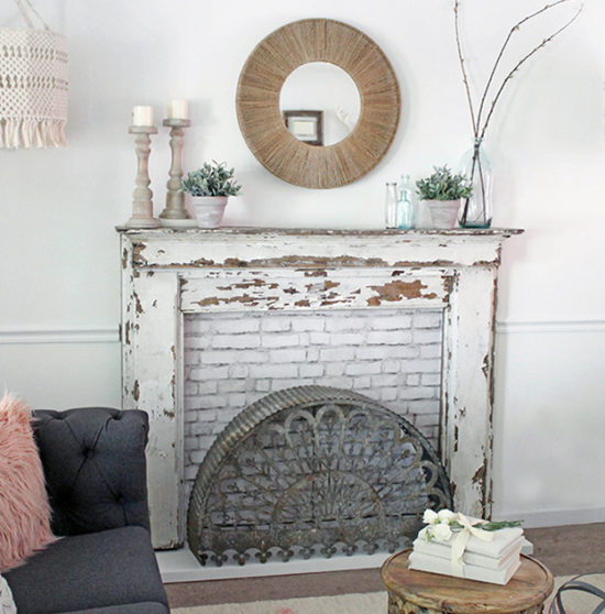 how to build a custom fireplace surround for a vintage mantel - this one was found at a flea market
