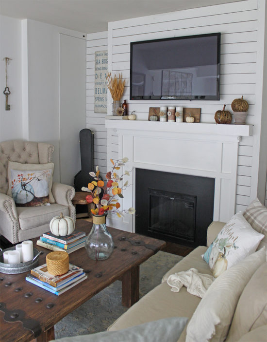 Fall decor family room with fall colors fall mantel