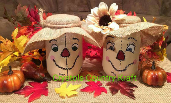 Scarecrow family mason jars halloween fall decor