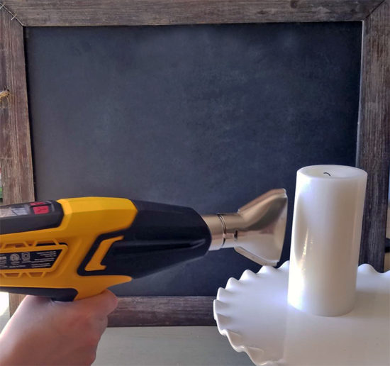 Using a heat gun to make candle wraps DIY Fall Decor