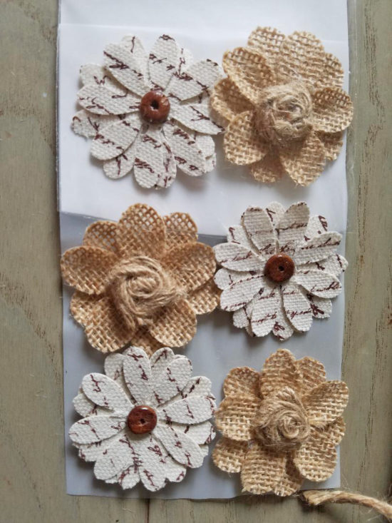 burlap and book page flowers