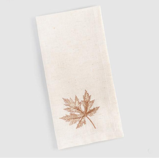 embroidered fall maple leaf napkins entertaining essentials and ideas