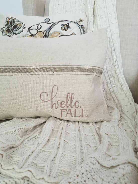 hello fall farmhouse ticking stripe pillow