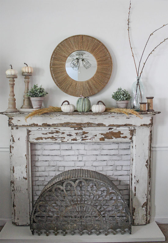 rustic fall mantel, fall decorations, fall home decor tour