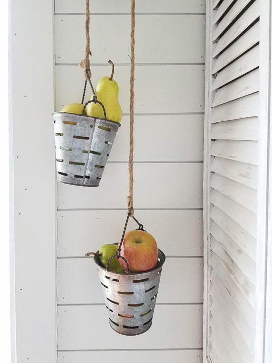store beautiful olive baskets on pulley for kitchen storage