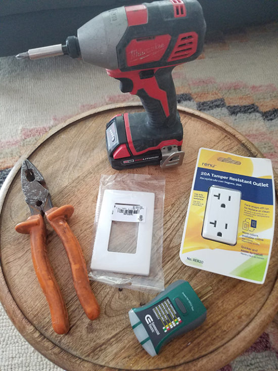 supplies needed to replace electrical outlets