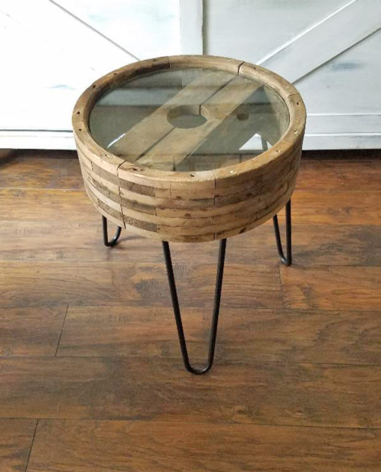 DIY Small Side Table from a wheel upcycle