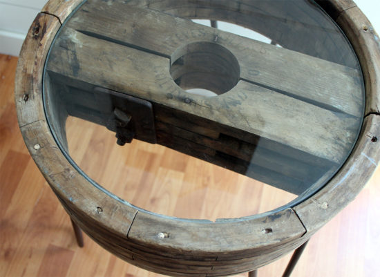 side table DIY upcycle with glass top