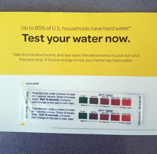 Hard Water testing strips from Morton Salt