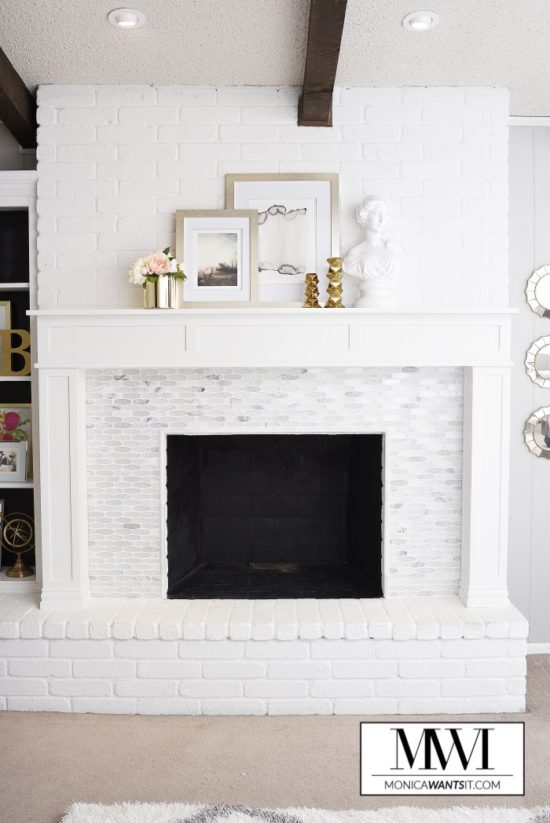 Marble-Fireplace-DIY-Makeover-Tutorial-Monica Wants It
