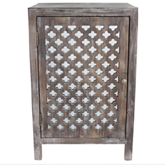 Quatrefoil end Table with storage