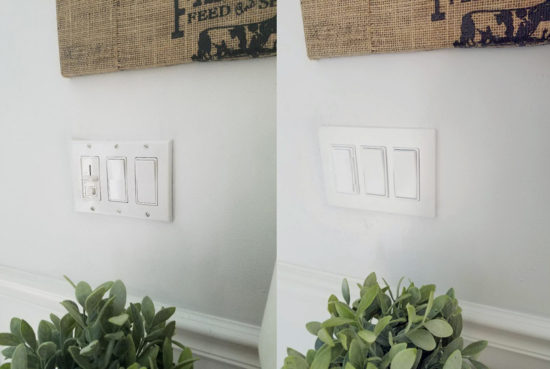 Switchplate covers before and after Leviton