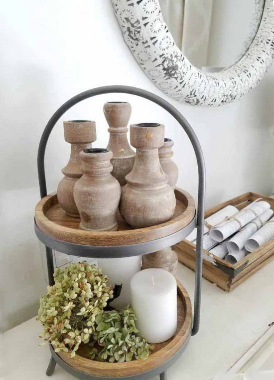 Rustic candle holders for taper candles