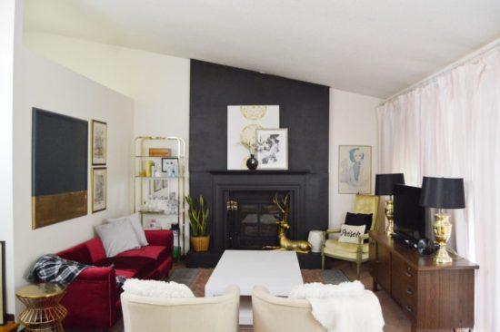 dramatic rental friendly fireplace makeover Domicle 37